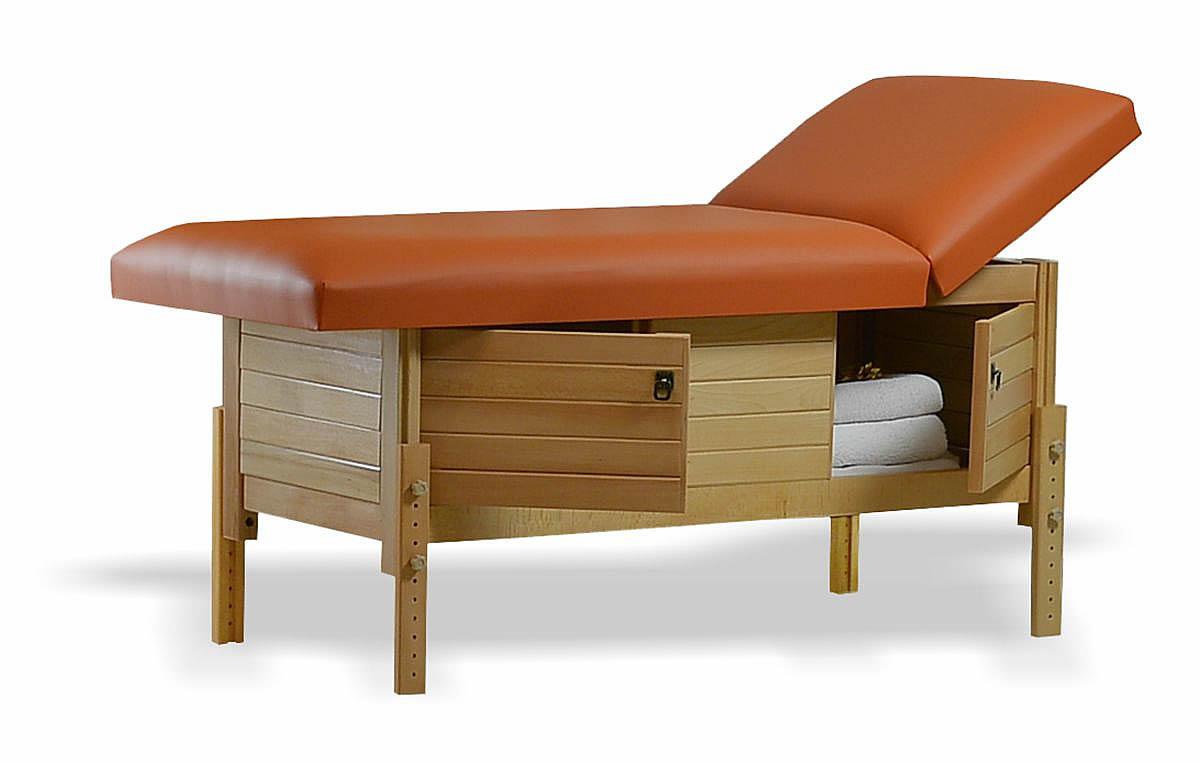 Masă de masaj staționară, model Aisha, de la BIOS, pernă două secțiuni, tapițerie brandy, finisaj lemn natur, spațiu de depozitare cu două uși batante.