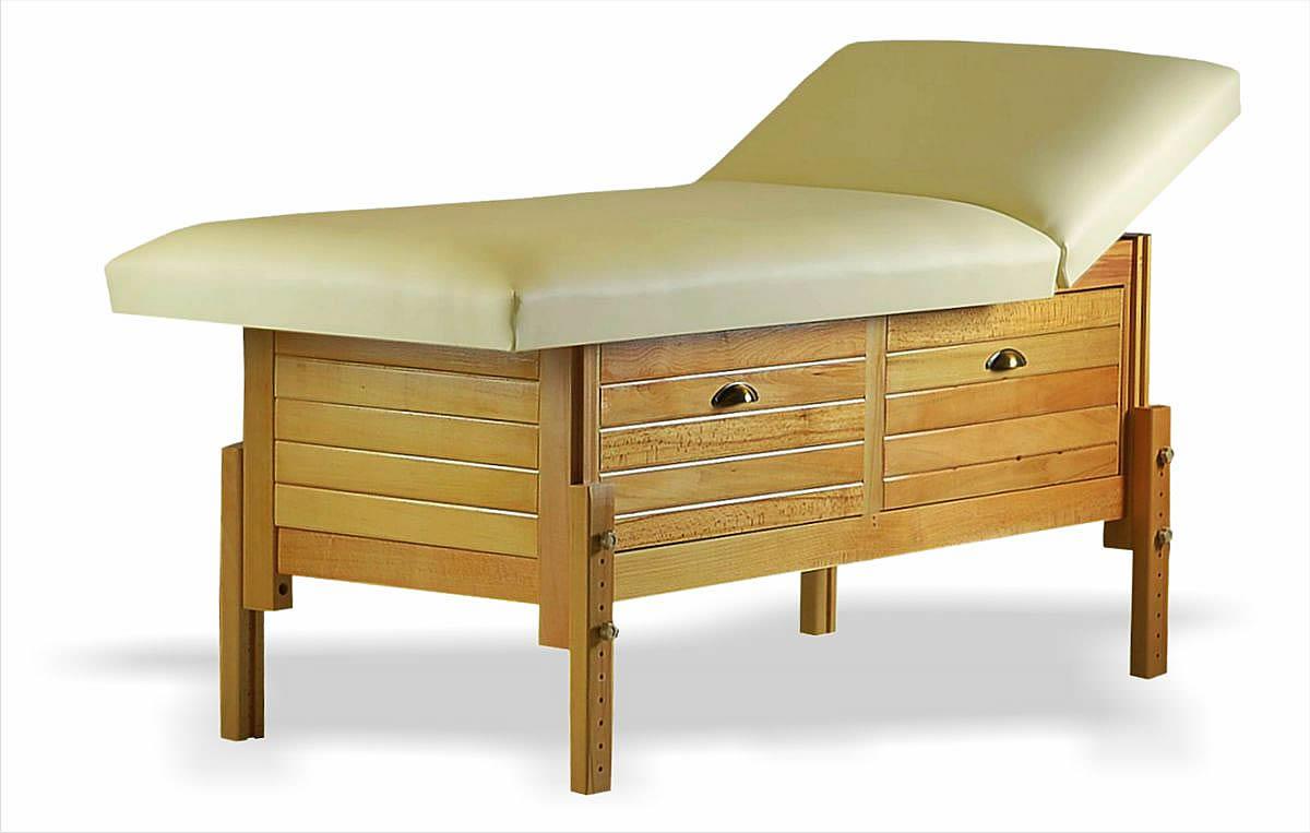 Masă de masaj staționară, model Aisha, finisaj lemn natur, pernă două secțiuni, tapițerie crem, burete memo 5+2, spațiu de depozitare cu două sertare.