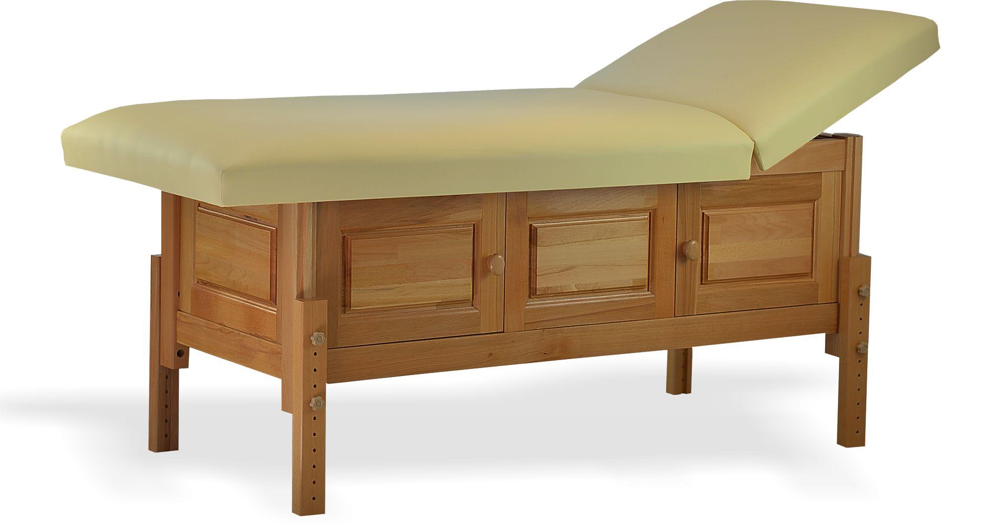 Masă de masaj staționară, model Bella, finisaj lemn natur, pernă două secțiuni, tapițerie crem, burete memo 5+2