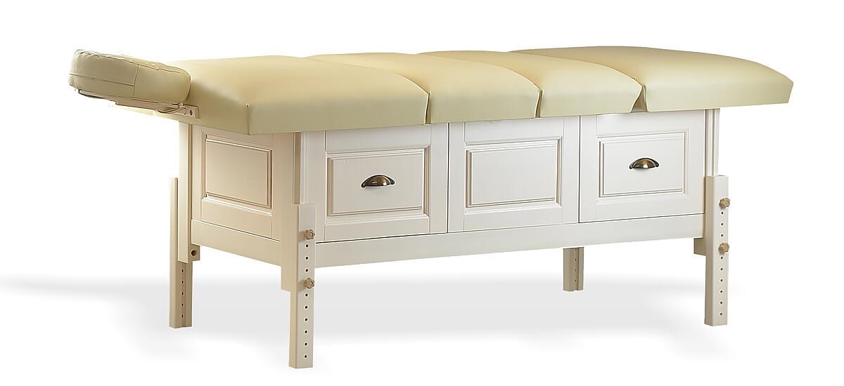 Masă de masaj staționară, model Bella, de la BIOS! Structura de lemn masiv finisată crem, pernă patru secțiuni, tapițerie piele ecologică poliuretanică crem.