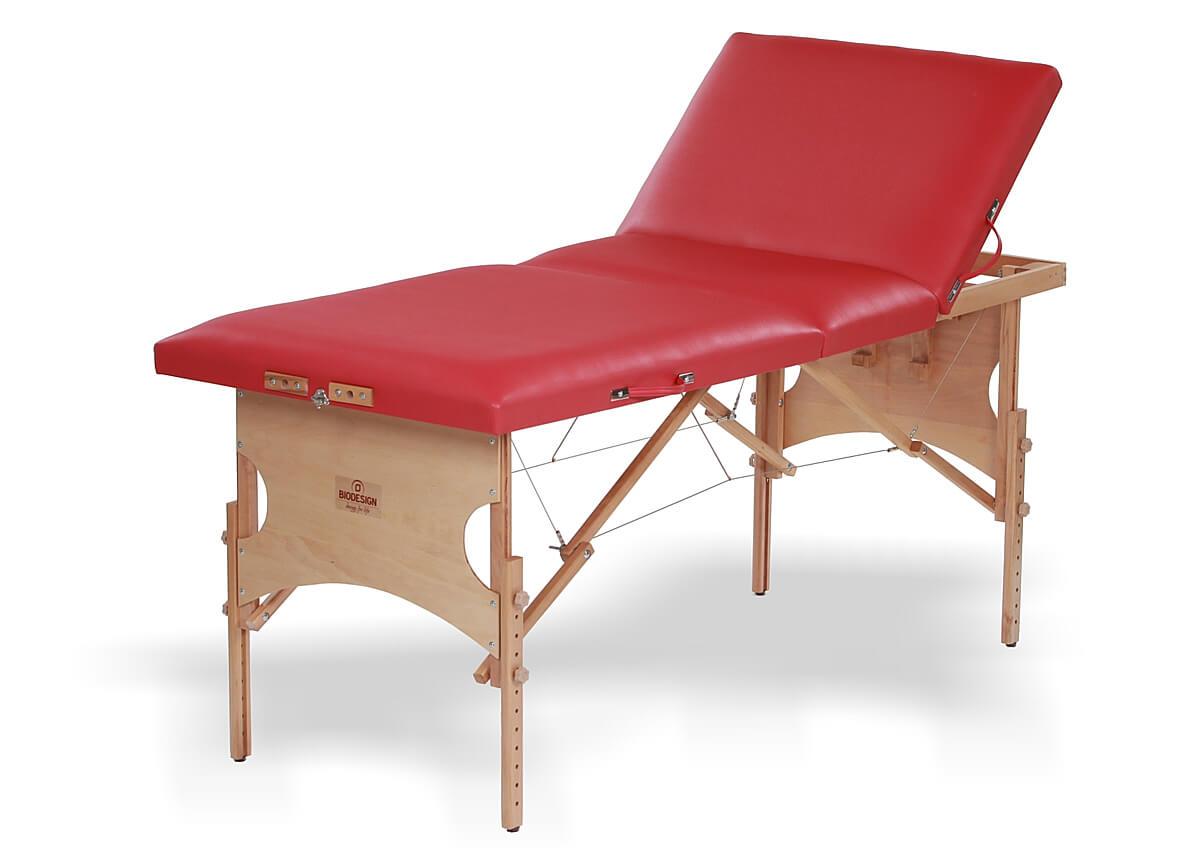 Confort - masă de masaj portabilă, trei secțiuni, culoare roșu