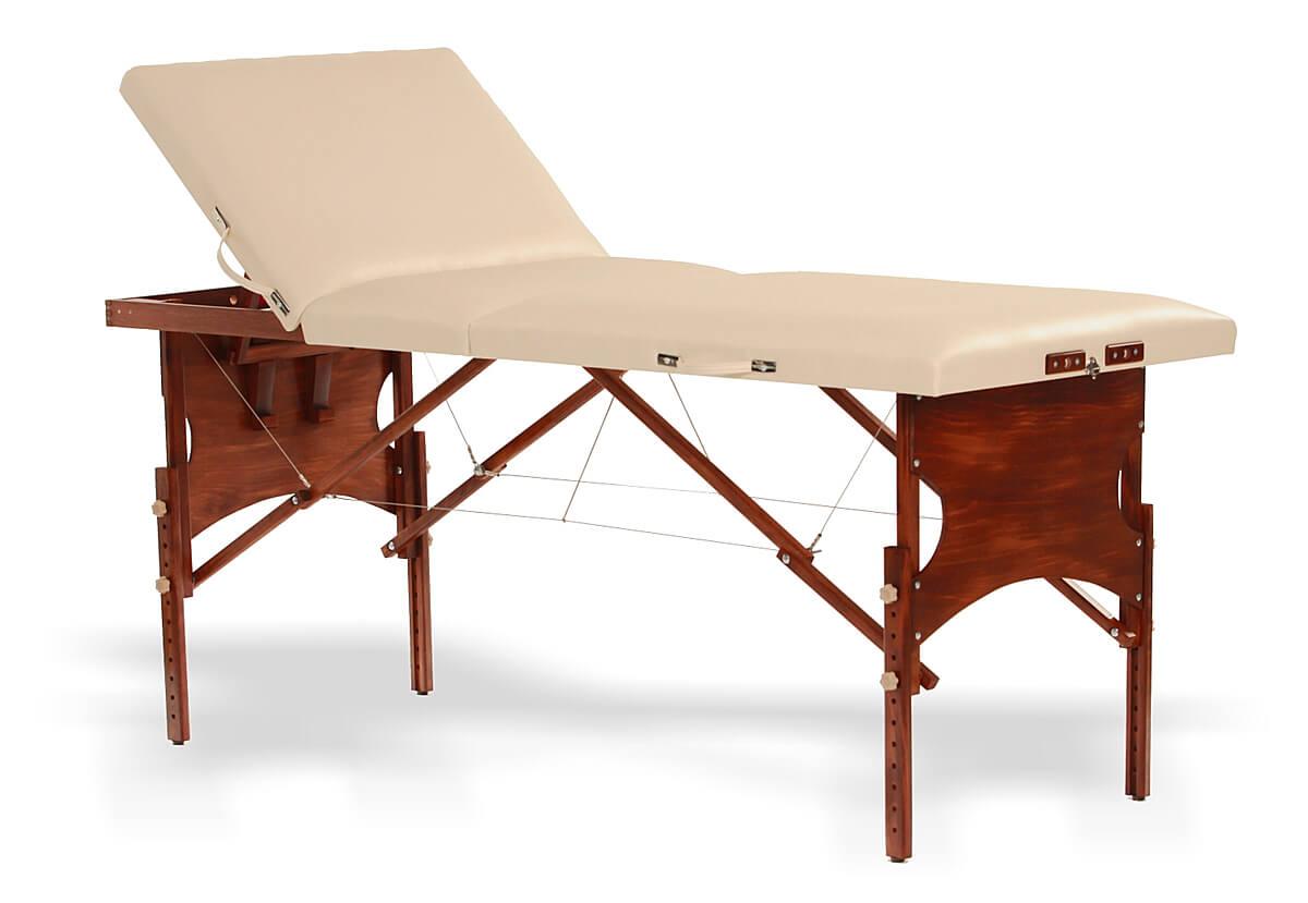 Confort - masă de masaj portabilă, trei secțiuni, finisaj lemn wenge, culoare crem