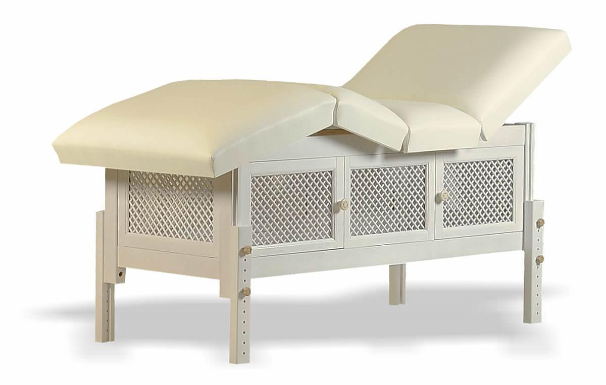 Masă de masaj staționară, model Jolie, de la BIOS, pernă patru secțiuni, tapițerie crem, finisaj lemn crem