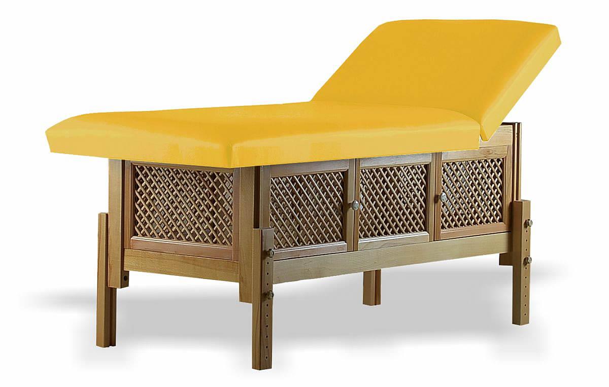 Masă de masaj staționară, model Jolie, de la BIOS, pernă două secțiuni, tapițerie galben-piersică, finisaj lemn natur.
