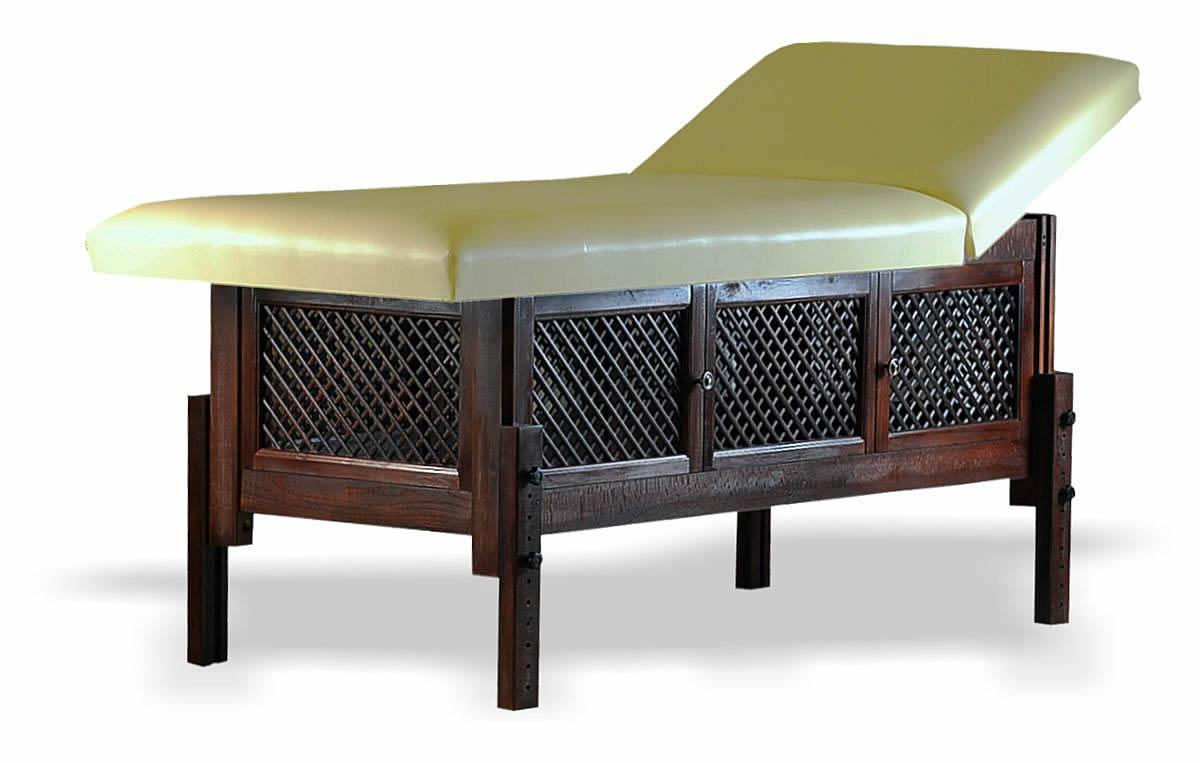 Masă de masaj staționară, model Jolie, de la BIOS, pernă două secțiuni, tapițerie crem, finisaj lemn culoarea wenge.
