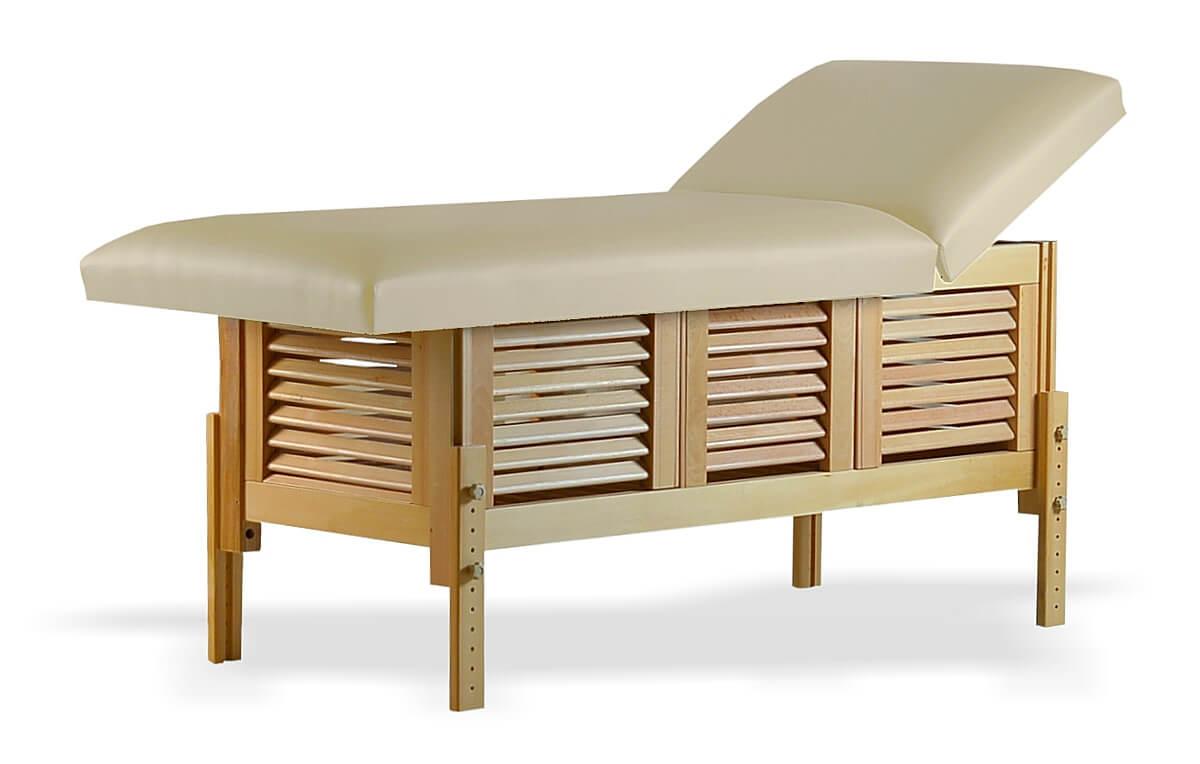 Masă de masaj staționară, model Laguna, de la BIOS, pernă două secțiuni, tapițerie crem, finisaj lemn natur.