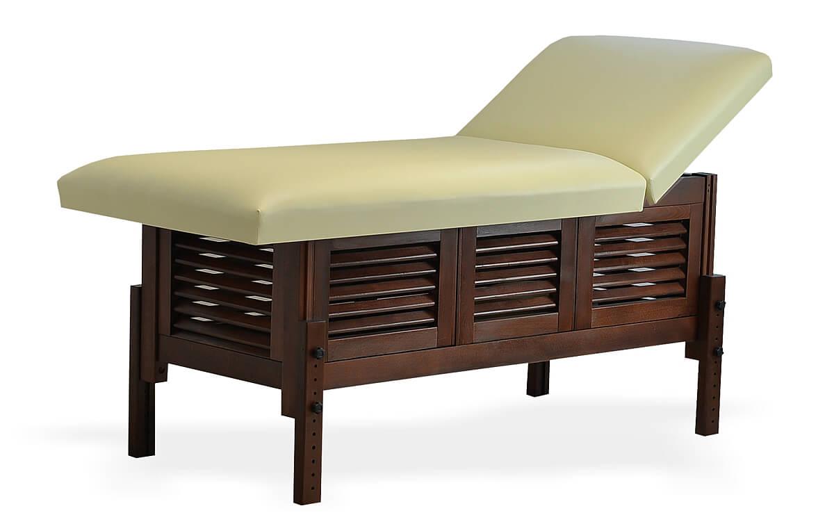 Masă de masaj staționară, model Laguna, de la BIOS, pernă două secțiuni, tapițerie crem, finisaj lemn culoarea wenge.