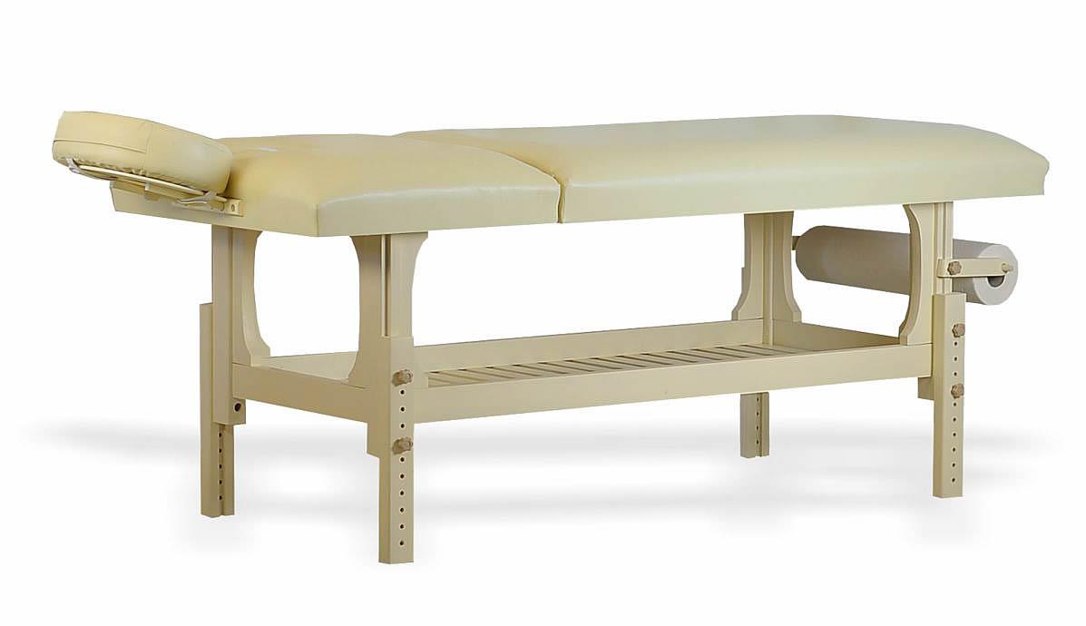 Lotus - masă de masaj staționară, finisaj lemn crem, tapițerie crem, două secțiuni. OpționaleȘ suport prosop hârtie și suport cervical. Extensia de cap atașată.