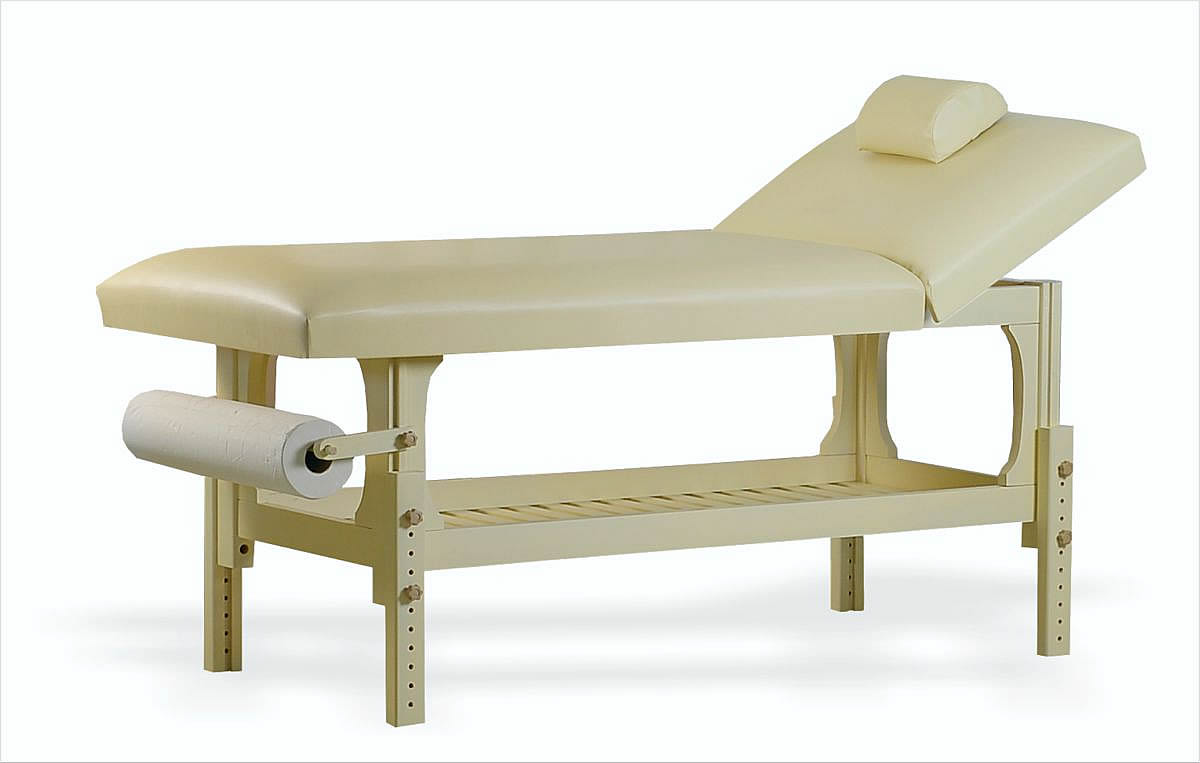 Lotus - masă de masaj staționară, finisaj lemn crem, tapițerie crem, două secțiuni. OpționaleȘ suport prosop hârtie și suport cervical.