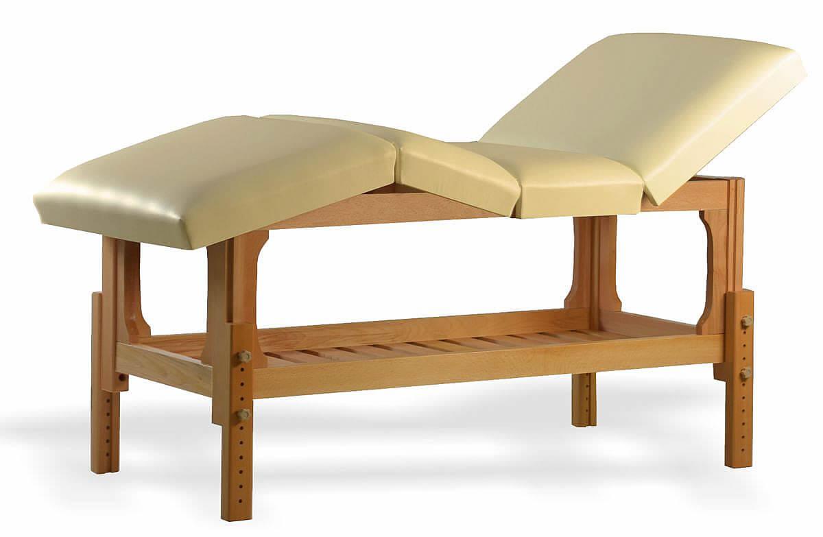 Lotus - masă de masaj staționară, finisaj lemn natur, pernă 4 secțiuni, tapițerie crem