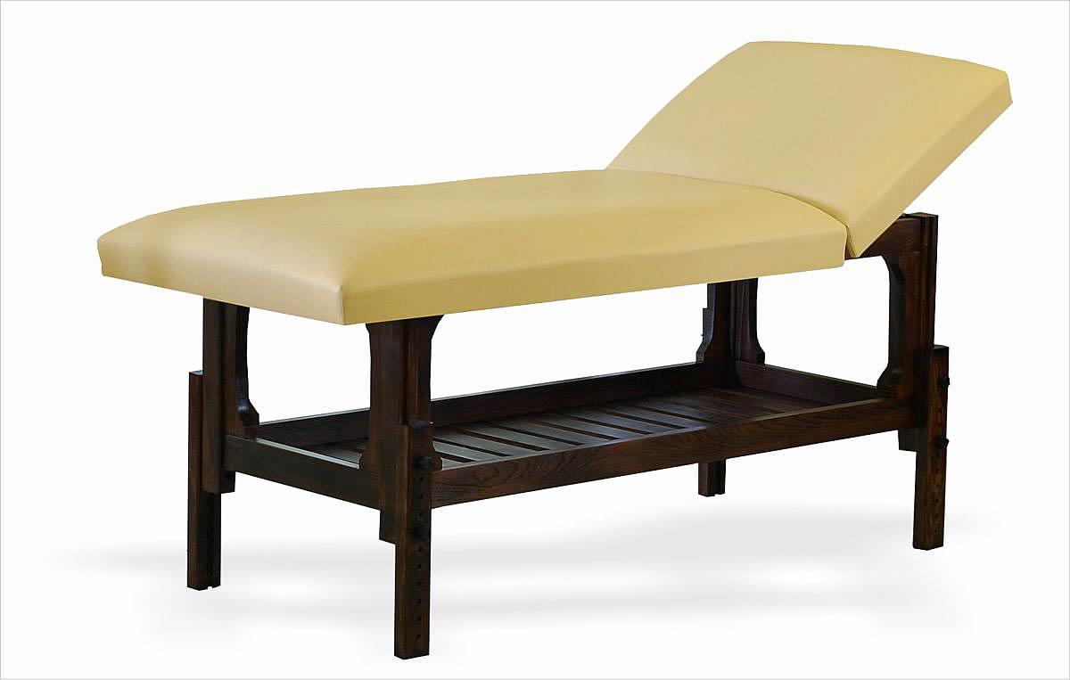 Lotus - masă de masaj staționară, finisaj lemn wenge, tapițerie crem, două secțiuni.