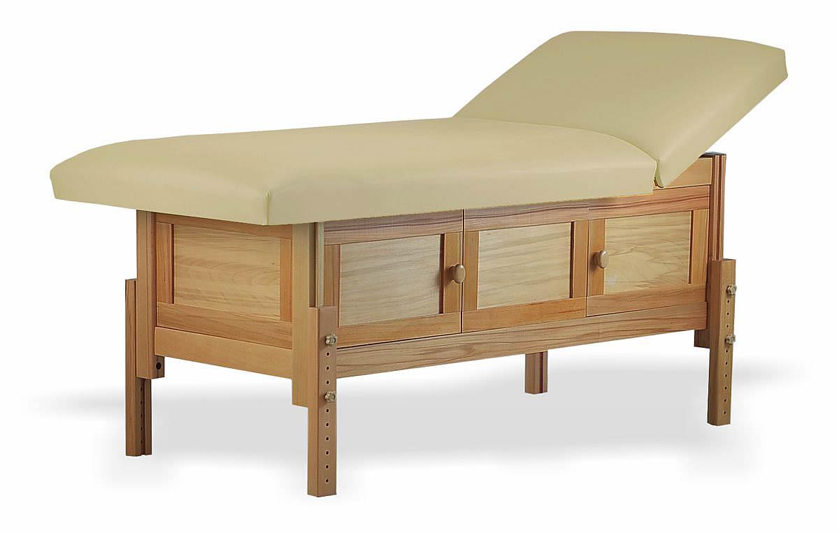 Masă de masaj staționară, model Shaker, finisaj lemn natur, pernă două secțiuni, tapițerie crem, burete memo 5+2