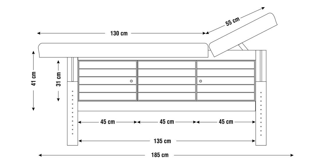 Dimensiuni perna patru sectiuni, model Aisha, schita 1Dimensiuni perna patru sectiuni, model Aisha, schita 1