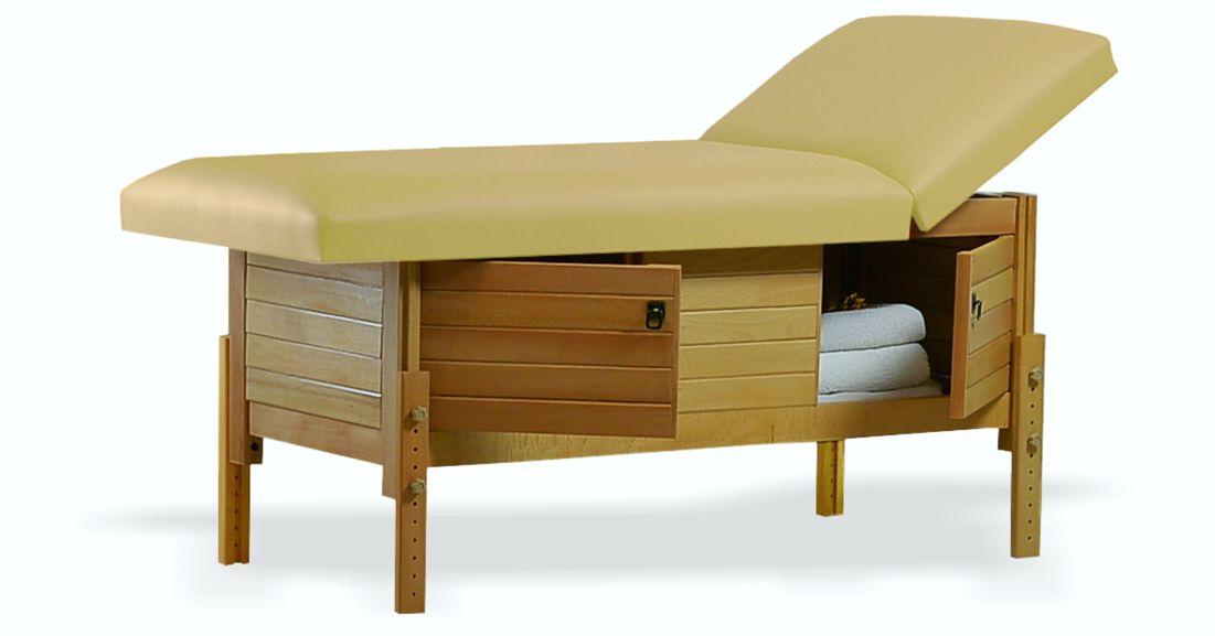 Masă de masaj staționară, model Aisha, de la BIOS, pernă două secțiuni, tapițerie crem, finisaj lemn natur, spațiu de depozitare cu două uși batante