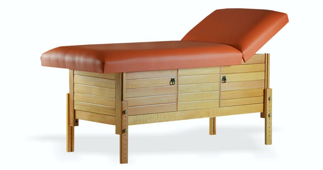 Masă de masaj staționară, model Aisha, de la BIOS, pernă două secțiuni, tapițerie brandy, finisaj lemn natur, spațiu de depozitare cu două usi batante.