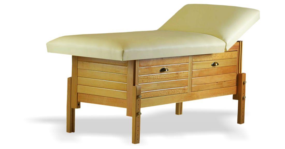 Masă de masaj staționară, model Aisha, de la BIOS, pernă două secțiuni, tapițerie crem, finisaj lemn natur, spațiu de depozitare cu două sertare culisante.
