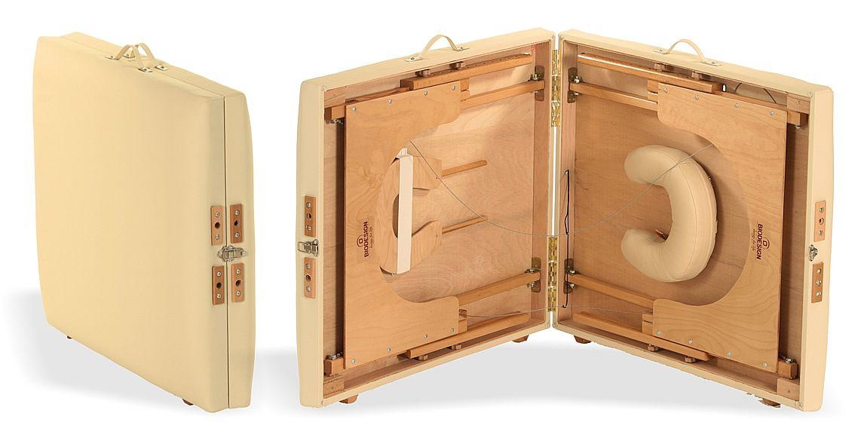 Arcada - masă de masaj portabilă, două secțiuni, lemn natur, tapițerie crem