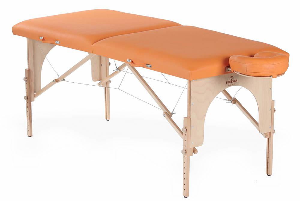 Arcada - masă de masaj portabilă, două secțiuni, lemn natur, tapițerie orangeArcada - masă de masaj portabilă, două secțiuni, lemn natur, tapițerie orange