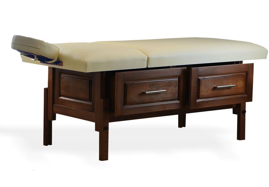 Bella - masă de masaj fixă, finisaj lemn wenge, sspațiu de depozitare cu două sertare