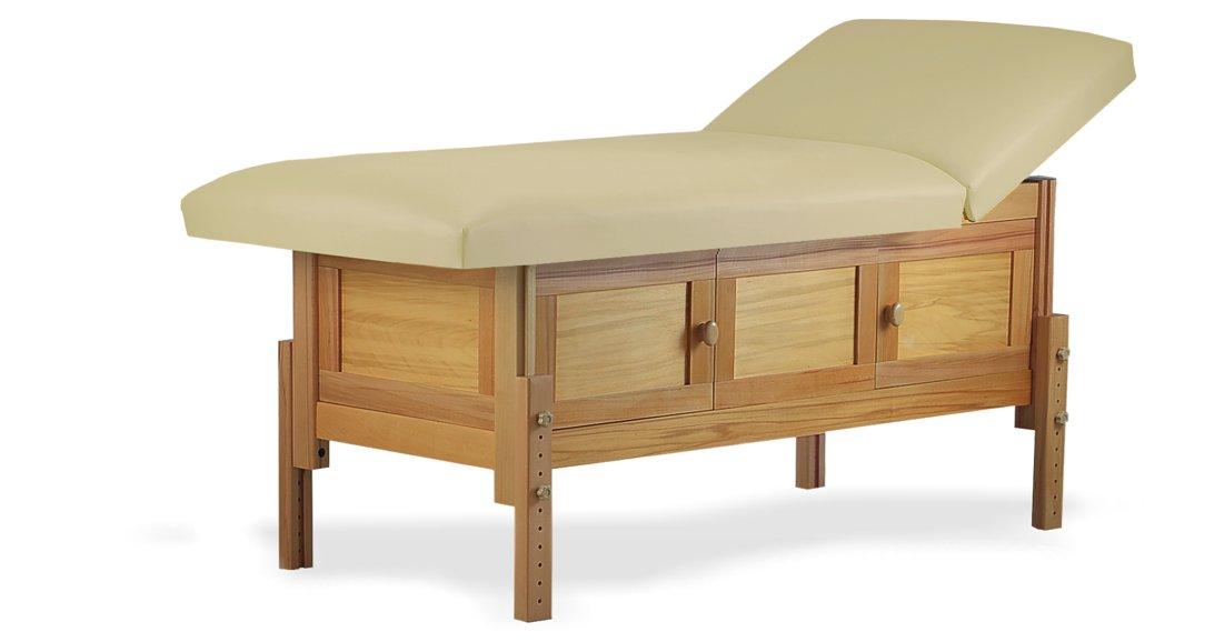Hermes, masă de masaj staționară, structură lemn masiv de fag finisaj natur, pernă două secțiuni, tapițerie crem