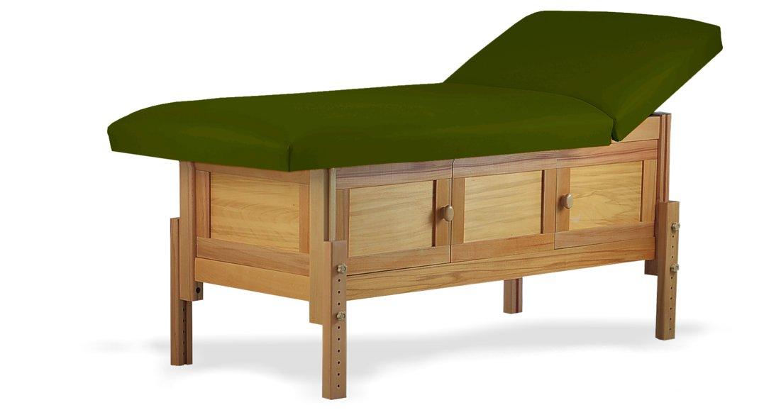 Hermes, masă de masaj staționară, structură lemn masiv de fag finisaj natur, pernă două secțiuni, tapițerie olive