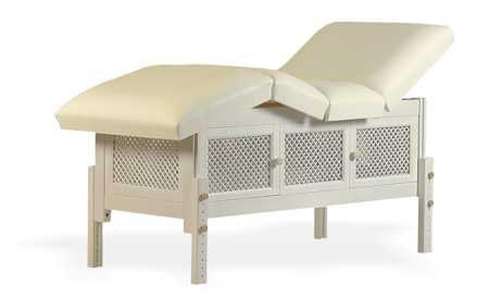 Masă de masaj staționară, model Jolie, finisaj lemn natur, pernă două secțiuni, tapițerie crem, burete memo 5+2