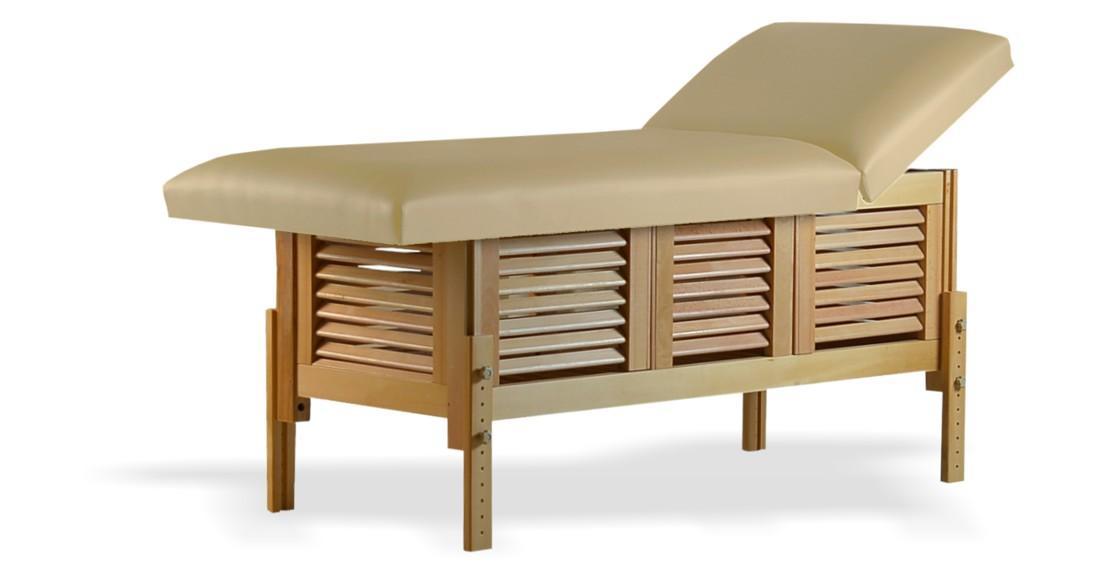 Masă de masaj staționară, model Laguna, de la BIOS, pernă două secțiuni, tapițerie crem, finisaj lemn natur