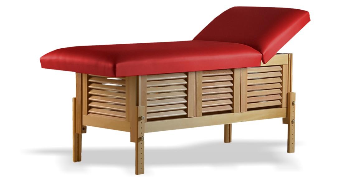 Masă de masaj staționară, model Laguna, finisaj lemn natur, pernă două secțiuni, tapițerie olive, burete memo 5+2