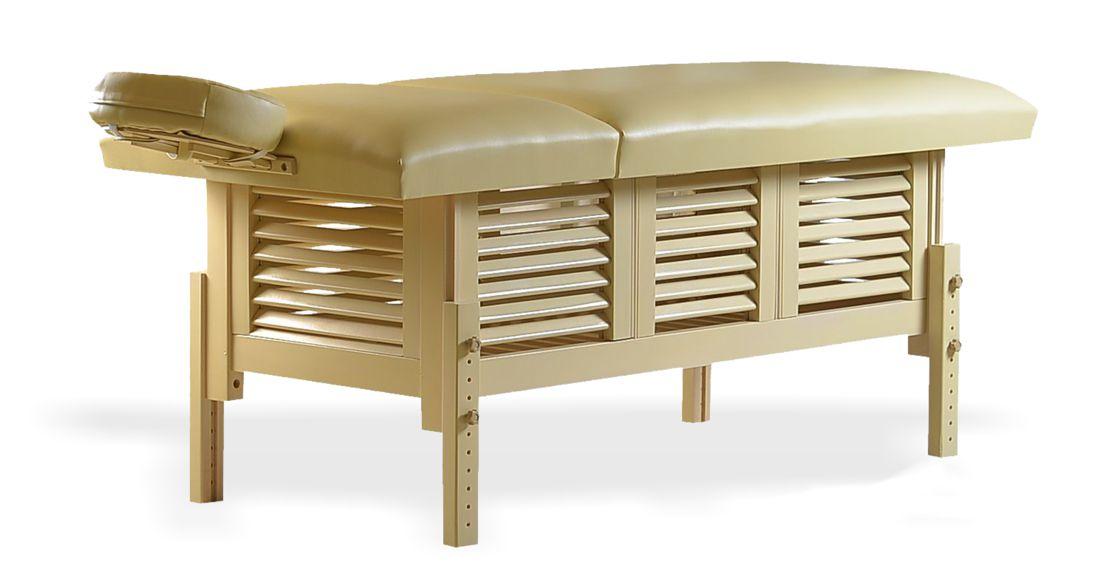Masă de masaj staționară, model Laguna, de la BIOS, pernă două secțiuni, tapițerie crem, finisaj lemn culoarea crem.