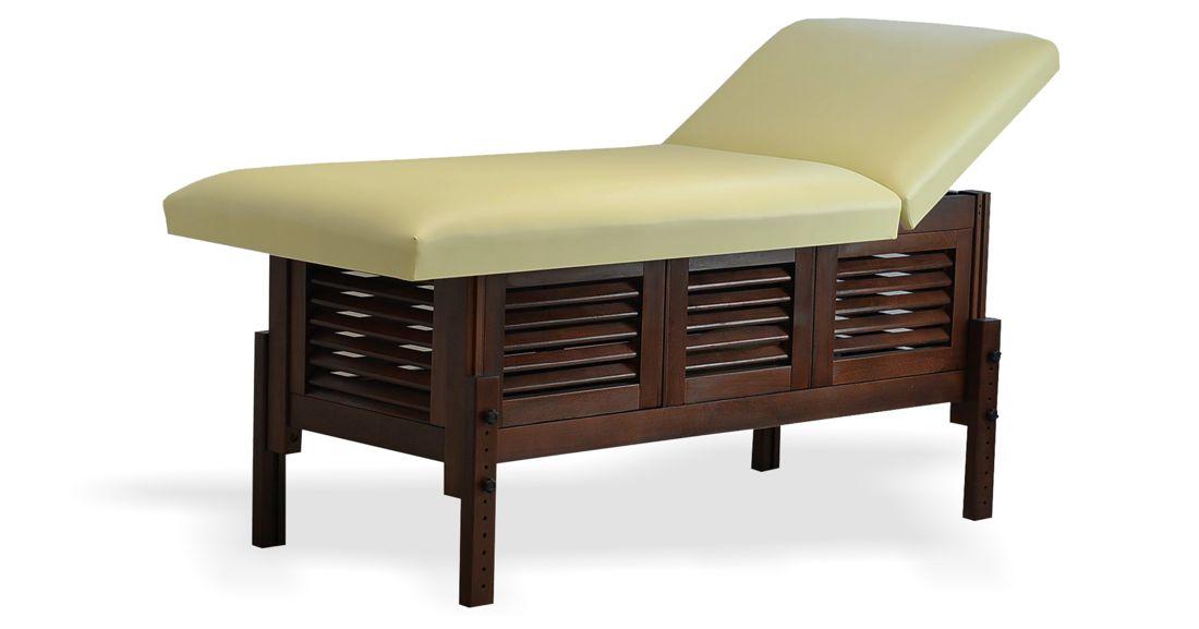 Masă de masaj staționară, model Laguna, de la BIOS, pernă două secțiuni, tapițerie crem, finisaj lemn wenge