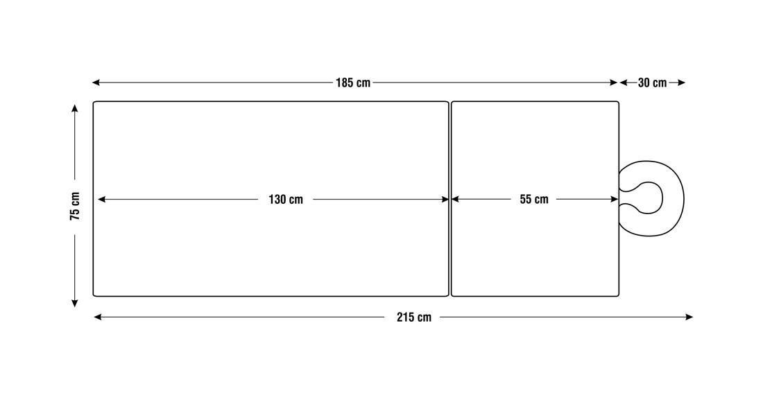 Dimensiuni perna două sectiuni, model Lotus, schita 4