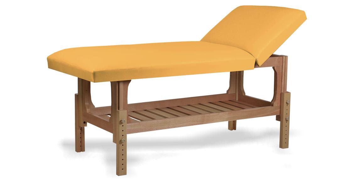 Lotus - masă de masaj fixă, lemn masiv de fag, finisaj natur, pernă două secțiuni, culoare galben