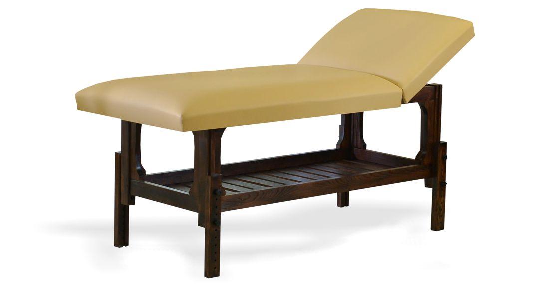 Lotus - masă de masaj fixă, lemn masiv de fag, finisaj wenge, pernă două secțiuni, culoare crem