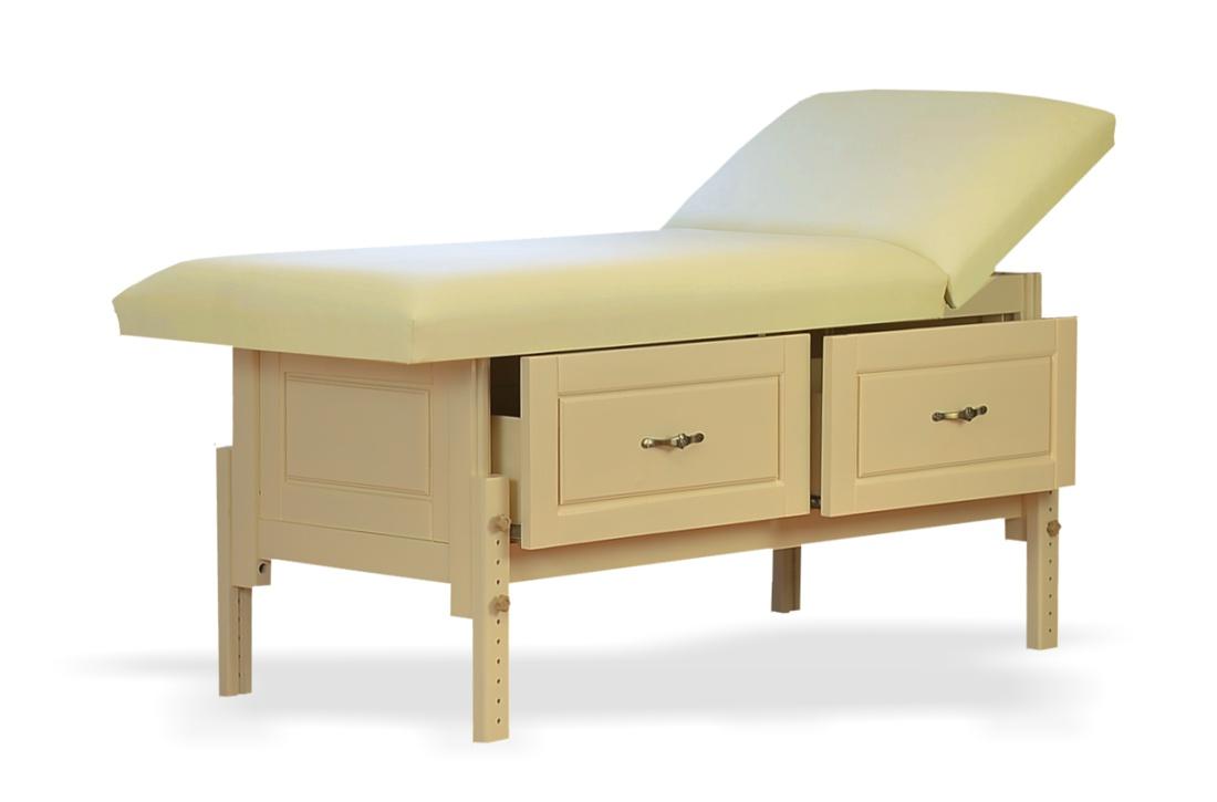 Bella - masă de masaj fixă, finisaj lemn crem, sspațiu de depozitare cu două sertareBella - masă de masaj fixă, finisaj lemn crem, sspațiu de depozitare cu două sertare