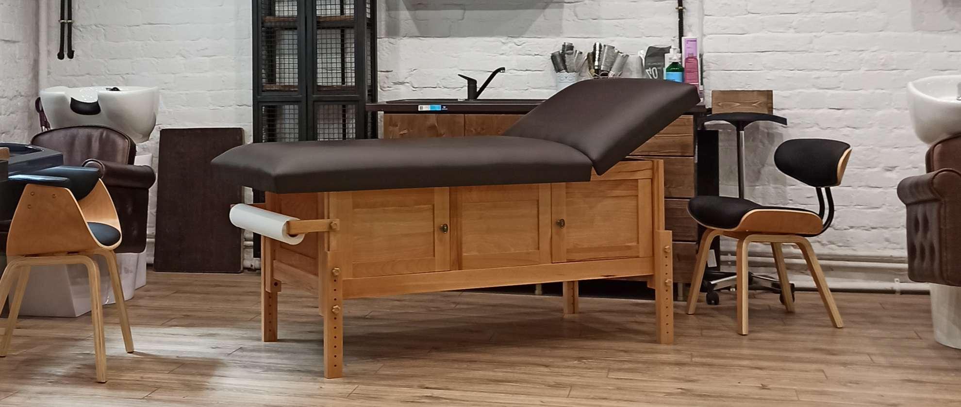 Masa de masaj staţionară, model Hermes, finisaj lemn natur, perna 2 secţiuni