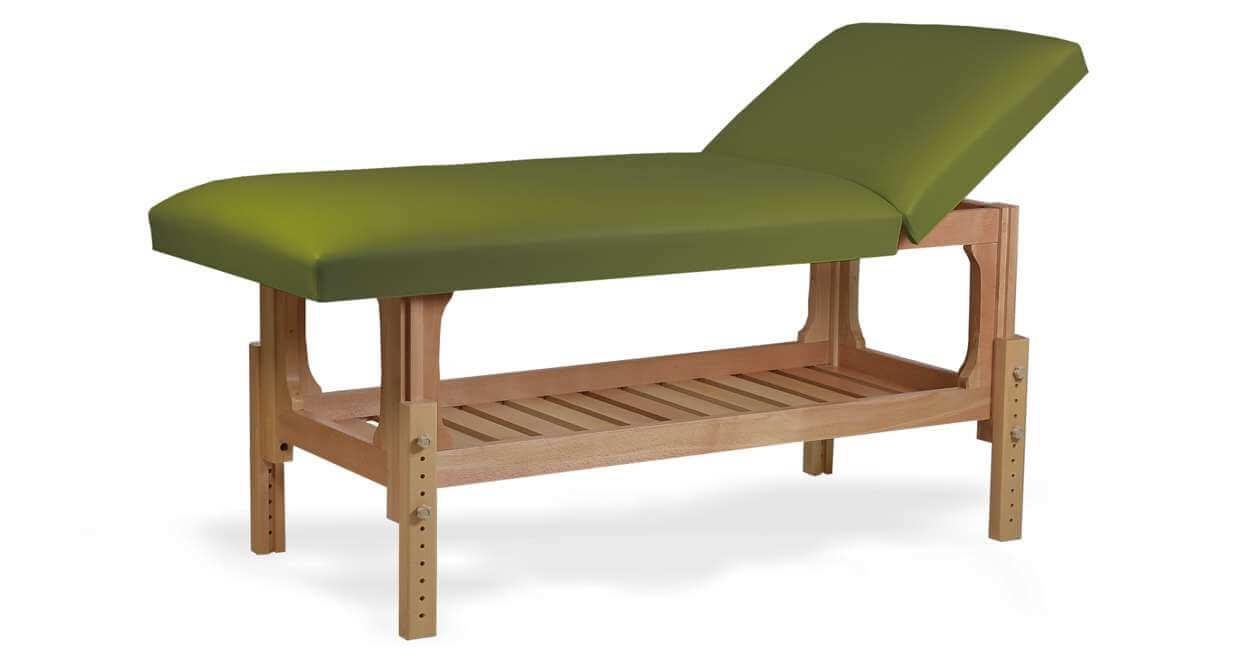 Lotus - masă de masaj fixă, lemn masiv de fag, finisaj natur, pernă două secțiuni, culoare verde